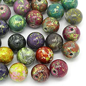 Housweety 20 Acryl Spacer Beads Muster Rund Perlen Mix 20mm D.