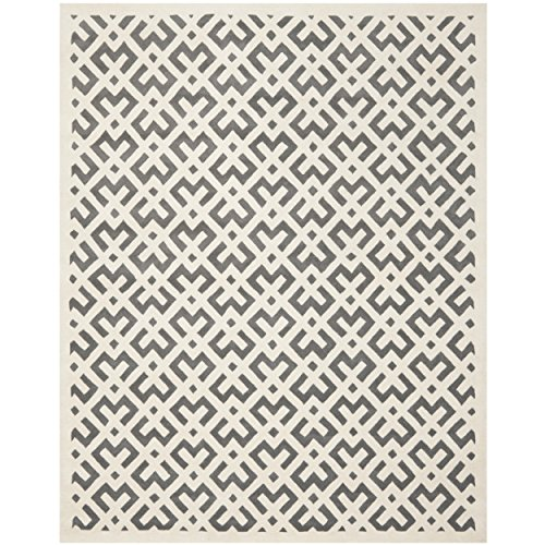 Safavieh Chatham Collection CHT719D Handmade Dark Grey and Ivory Wool Area Rug, 8 feet by 10 feet (8' x 10')