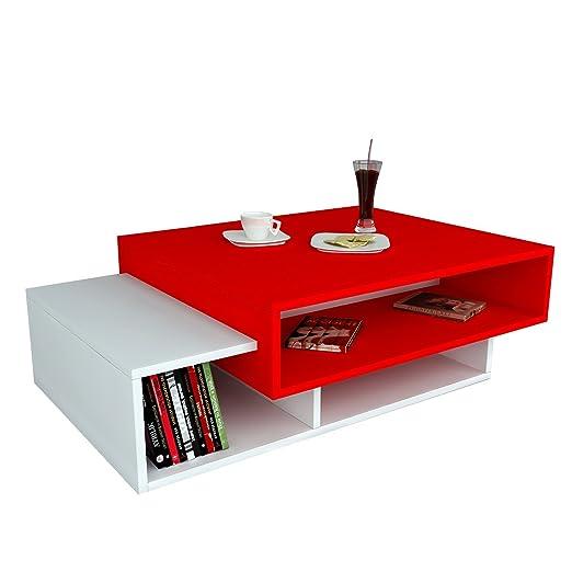 Alphamoebel 1391 Couchtisch, Spannplatte der Guteklasse 1, weiß / rot, 60 x 105 x 32 cm
