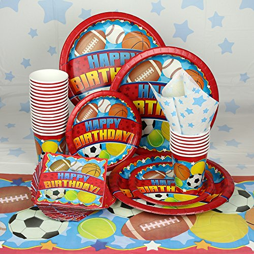 Red Sports Birthday Party Decoration Set, Tablecloths, Plates, Cups And Napkins, Total Of 155 Items