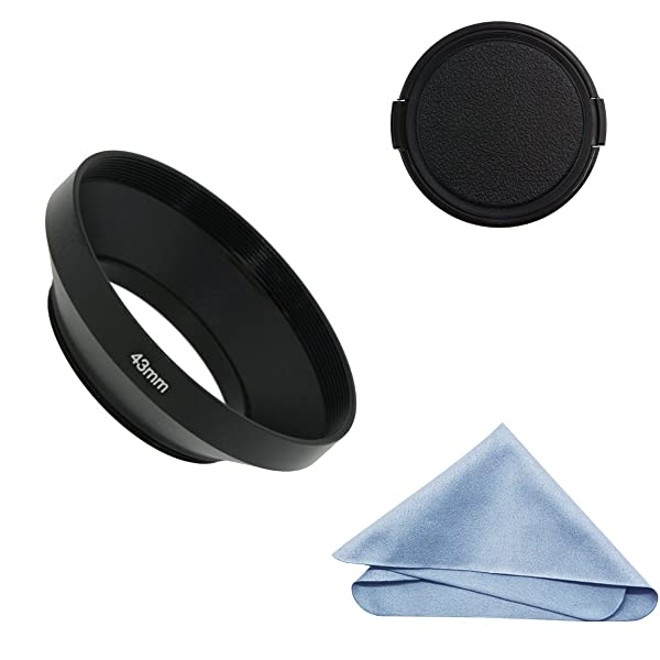 SIOTI Camera Wide Angle Metal Lens Hood with Cleaning Cloth and Lens Cap Compatible with Leica/Fuji/Nikon/Canon/Samsung Standard Thread Lens(43mm) (Color: Wide Angle, Tamaño: 43mm)