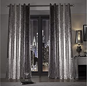 """Kylie Minogue Natala Slate Velvet Lined 90"""" X 72"""" - 229cm X 183cm Ring Top Curtains from Kylie Minogue Home."""