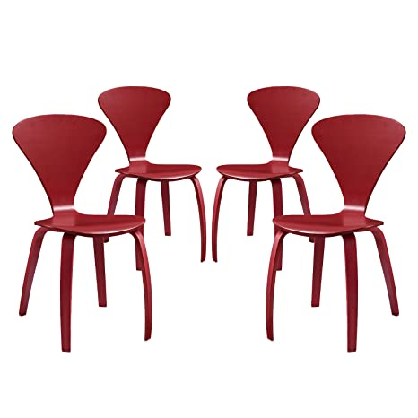 LexMod Vortex Dining Chairs (Set of 4), Red