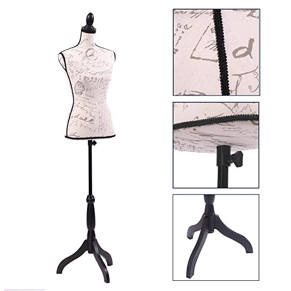 Female Mannequin Torso Clothing Display w/Black Adjustable Tripod Stand