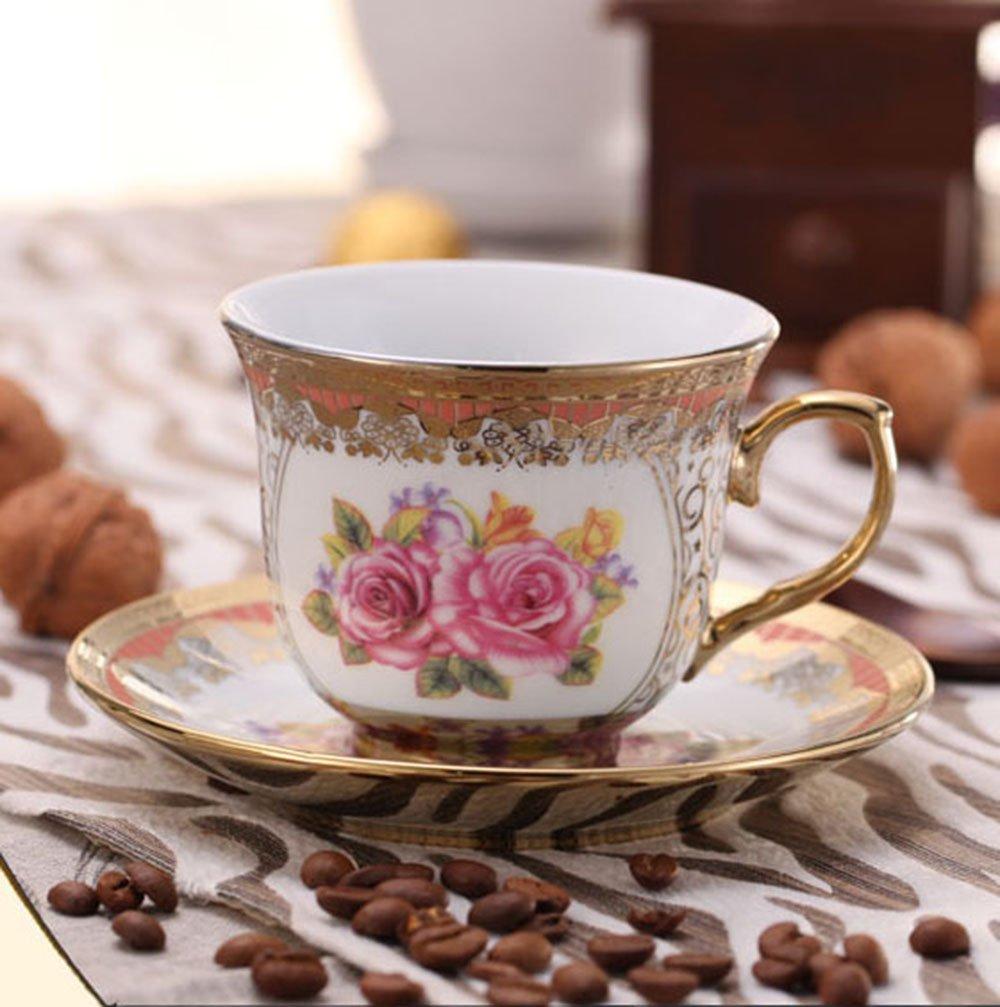 ufengkeWedding Birthday 13 Piece Gold Red Flower European-Style Chinese Ceramic Tea Set Tea Service 2