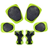 KUYOU Child Kids Protective Gear Set,Knee and Elbow Pads with Wrist Guards Toddler for Multi-Sports Cycling,Bike,Rollerblading, Skating, Volleyball (Color: Green, Tamaño: Small)