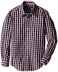 Brooks Brothers Little Boys' Non Iron Tattersall Checked Sport Shirt, Red, X-Small