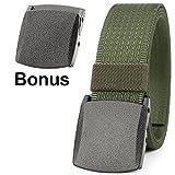 JasGood Unisex Nickel Free Belt 1.5 In Nylon Adjustable Web Belt with Plastic Buckle (Green)