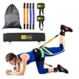 TOCO FREIDO Booty Belt Workout Band Program, Lift & Tone Your Perfect Butt, Vertical Jump Trainer Adjustable Levels with 4 Resistance Bands, Cushioned Waist Belt, Ankle Cuffs, Carry-on Bag