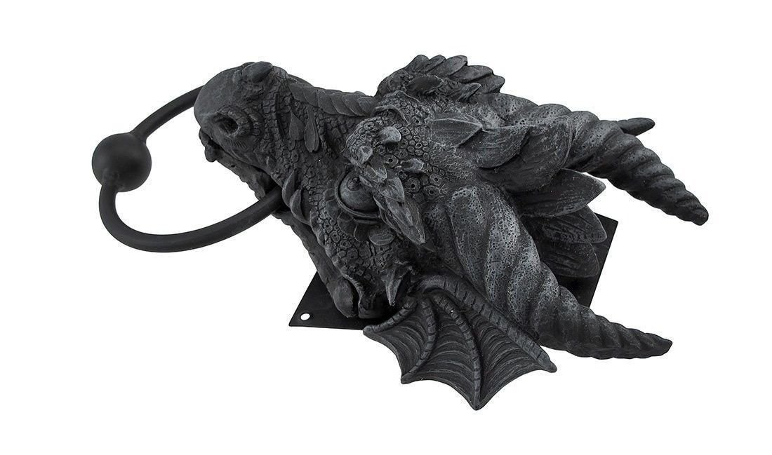 Ancient Medieval Fantasy Cool Horned Dragon Head Resin Door Knocker Home Decor