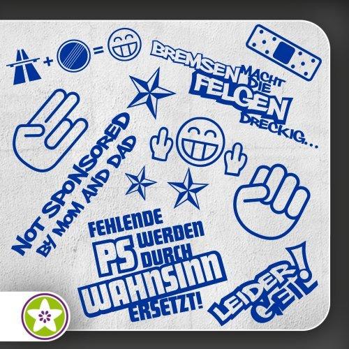 Sticker-bomb-01-set-bremsenfelgen-shockerhand-autobahnfreak-absence-de-pS-malheureusement-geil-couleurs-diffrentes
