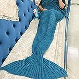 Manta de punto hecho a mano de la sirena de cola para los niños, cálido edredón Sofá Salón manta 135cmX65cm
