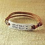 Personalized Rope Bracelet, Alloy Hammered Bracelet, Custom Longitude & Latitude, Stamped GPS Bracelet, Engraved Coordinates, Valentine's Gifts For Her