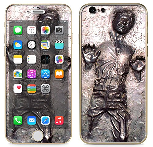 "Apple iPhone 6 (4.7"") - Skin Kit plus Clear/White Bumper Case Protector and matching wallpaper - Han Solo Frozen in Carbonite by itsaskin"