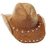 Tommy Bahama Women's Crochet Raffia Cowboy With Shells Hat