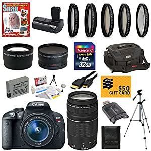 Canon EOS Rebel T5i 18.0 MP CMOS Digital Camera with EF-S 18-55mm f/3.5-5.6 IS STM Zoom Lens + EF 75-300mm f/4-5.6 III Telephoto Zoom Lens + Telephoto & Wide Angle Lenses + 16pc Bundle 32GB Deluxe Accessory Kit