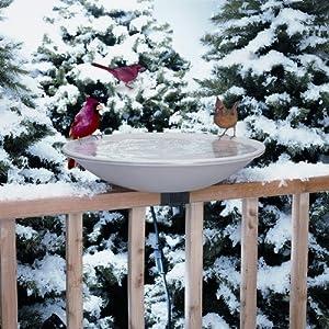 "20"" Heated Deck Rail Bird Bath with Quick Release"