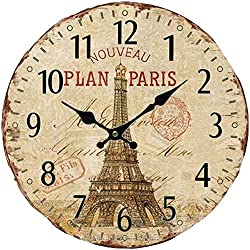 Grazing 5 Vintage Effiel Tower of Paris Design Rustic Country Tuscan Style Wooden Decorative Round Wall Clock (Tower1 )