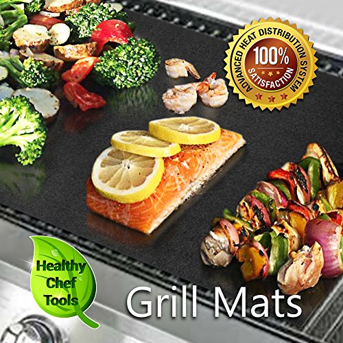 (Set of 3) 2 Premium-Grade BBQ Grill Mats plus 1 Baking Sheet, Safe Non-Stick Extra Heavy Duty - Works on Gas, Electric, Charcoal Grills (Amazon Gifts For Men compare prices)