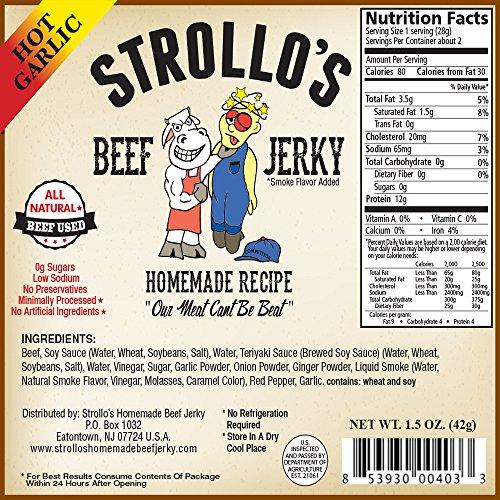Best Beef Jerky by Strollo's Hot Garlic Flavor Paleo ...
