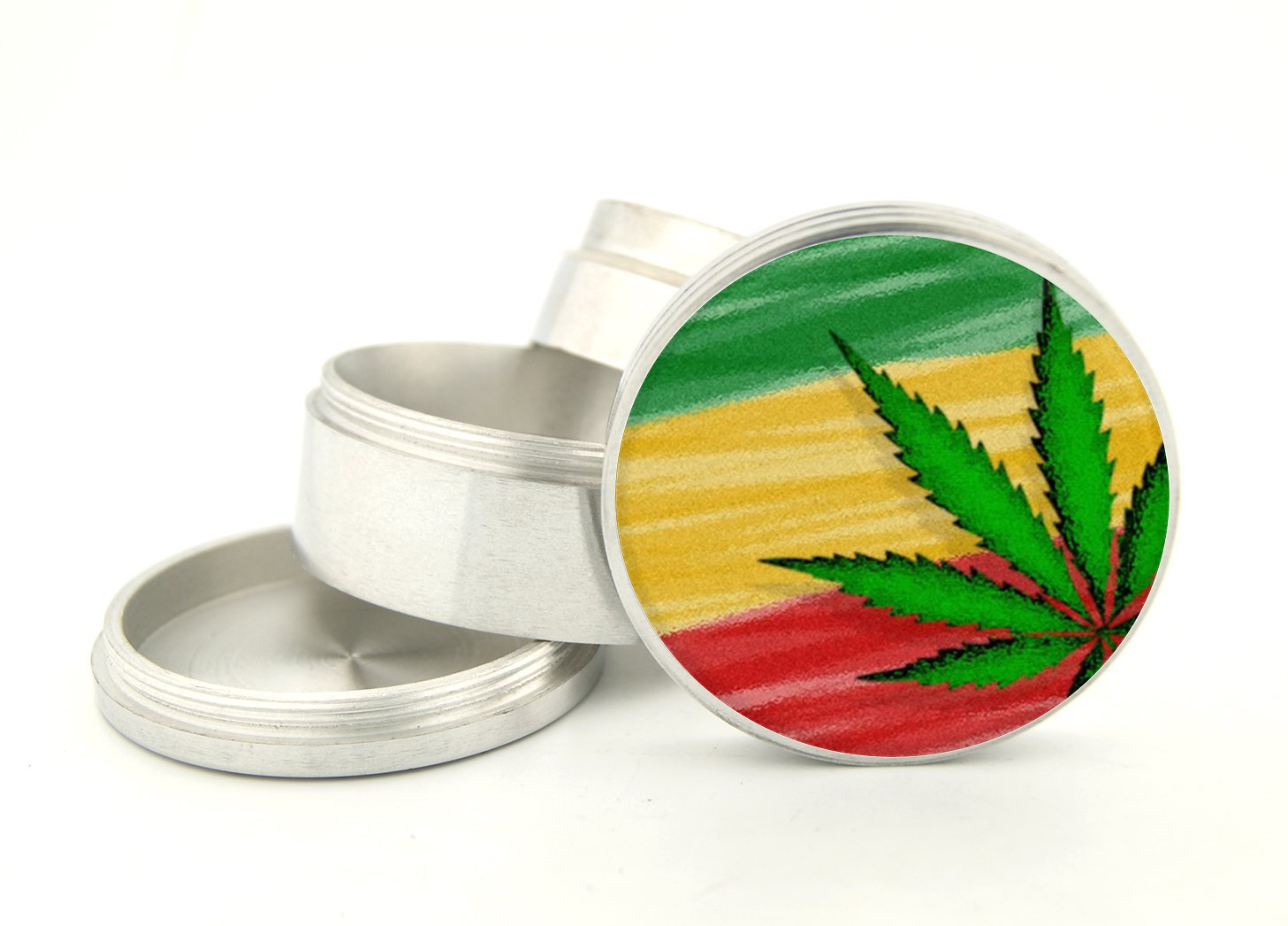 Rasta Weed Design 2.4''' Large Size 4 Part Aluminum Grinder That Has Fashion Design On And Covered With Crystal Clear Doming Item # 63M-G15-393 devendra mandal and rakesh kumar effect of sowing date and weed control methods on direct seeded rice