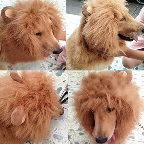 Harukokoro(TM)Funny Pet Costume Pet Adjustable (Max Neck Circumference: 80cm, 31 incn)Dog Lion Mane Cosplay Scarf Wigs Mane Hair Fancy Dress For Festival, Party, Halloween