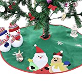 Ohuhu Santa and Reindeer Christmas Tree Skirt Green 36""