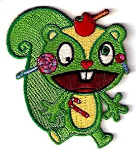 NUTTY green SQUIRREL w googly eyes in Happy Tree Friends TV Series Embroidered Iron On / Sew On Patch