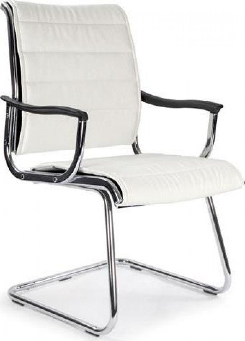 Eliza Tinsley 701AV/WH Cantilever Chrome Framed Leather Effect Designer Visitors Chair   White       Office ProductsCustomer reviews and more description