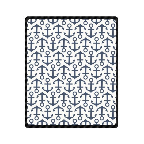 Personalized Fashion Seamless Pattern With Anchor Picture Fleece Blanket 50 X 60 back-1058186