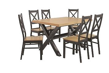 Esstisch mit 6 stuhlen: 130x80 oder 160x90 eiche und schwarz, aufgeklappten Tischplatte Esszimmertisch Tischgruppe Essgruppe 7tlg. - HAITI (160x90cm)
