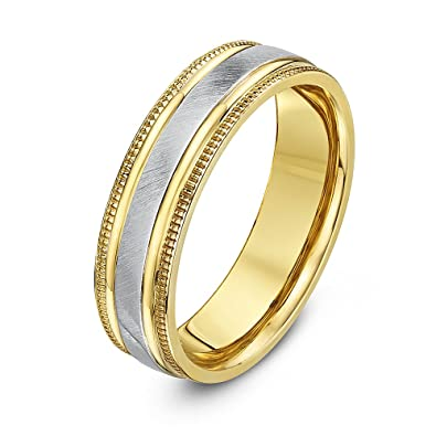 Thiea Two Colours, 9 ct Yellow and White Gold, Matt Center and Millgrain Edges Wedding Ring