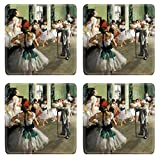 MSD Square Coaster 4 Piece Set Balet Circus Theatre Edgar Degas 1834 To 1917 Artwork Name The Ballet Class 1874 Coasters Stain Resistance Collector Kit Kitchen Table Top Desk
