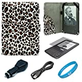 Leopard Pattern Design Protective Portfolio Nylon Carrying Case Cover for Amazon Kindle 3rd Generation Wireless Reading Device 3G Wi-Fi 6 inch LCD Display + Clear Screen Protector Guard for Kindle 3 Wifi + USB Car Charger + Micro USB Data Cable + SumacLife TM Wisdom Courage Wristband
