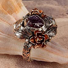 buy Rose Garden - Ooak One Of A Kind - Rough Uncut Ruby Ring With Roses & Leaves U.S.A. Size 9