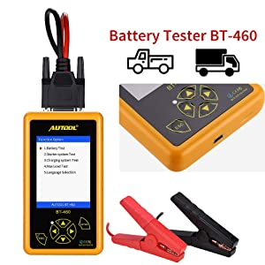 WonVon BT460 BT460 Car Tester Analyzer with Automotive, Cranking, Charging, Maximum Load Test Function and 4'' LCD Display,Portable,for 12V/24V Vehicles Lead Acid & Lithium Battery (Tamaño: BT460)