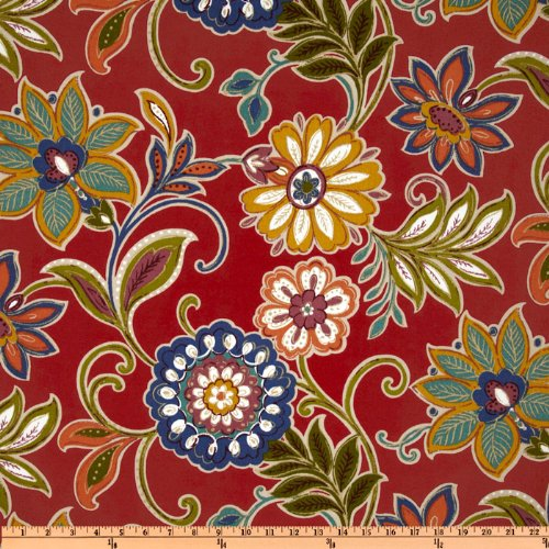 Richloom Solarium Outdoor Alinea Floral Pompeii Red Fabric By The Yard (Outdoor Fabric Red compare prices)