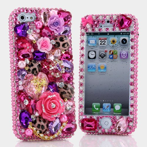 Great Sale BlingAngels® 3D Luxury Bling iphone 5 5s Case Cover Faceplate Swarovski Crystals Diamond Sparkle bedazzled jeweled Design Front & Back Snap-on Hard Case (100% Handcrafted by BlingAngels) (Pink Leopard Stones with Gold Chain)