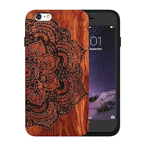 JuBeCo Patterni Design For iPhone 6/6s(4.7inch),Handmade Natural Solid Wood Case, Bamboo Case.(half four flower) (Wood Iphone 4 Case compare prices)