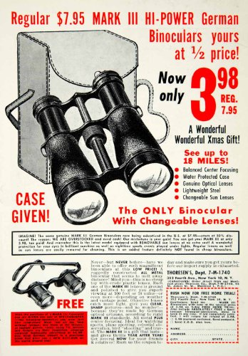 1954 Ad Mark Iii Binoculars Spectoscopes Thoresens 352 Fourth Avenue Nyc German - Original Print Ad