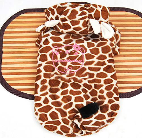 ESINGYO Fleece Giraffe Costume Hooded, for Small Dog Cat Puppy under 20 pounds
