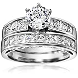 Platinum Plated Sterling Silver Cubic Zirconia Round Solitaire Ring with Princess-Cut Side Stones and Princess-Cut Band Bridal Set, Size 7