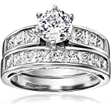 Platinum Plated Sterling Silver Cubic Zirconia Round Solitaire Ring with Princess-Cut Side Stones and Princess-Cut Band Ring Set