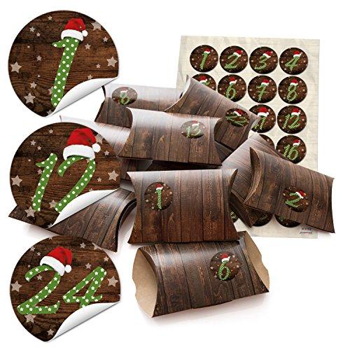 24 kleine geschenkboxen holz optik braun mit aufkleber. Black Bedroom Furniture Sets. Home Design Ideas