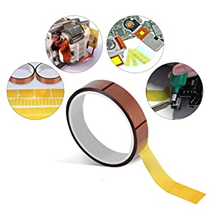 2 Rolls 10mm X 33m(100ft) High Temperature Heat Resistant Tape Sublimation Dye Mug Electronic Polyimide Tape