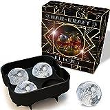 Ice Ball Maker Mold by BAR KRAFT, 4x4.5cm Ice Sphere Capacity, Gold Trim Box