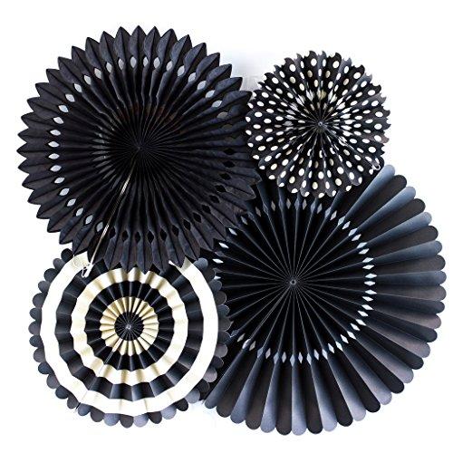 My Mind's Eye Basics Party Fans, Black Color, Set of 4 (Black Fans compare prices)