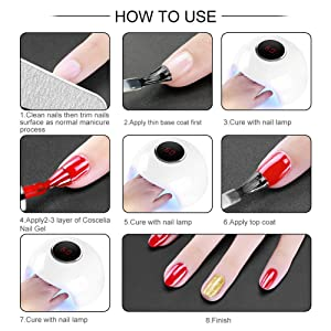 Coscelia Gel Nail Polish Starter Kit with 24W LED Curing Lamp 8 Colors Gel Nail Polish Top and Base Coat Professional Manicure Tool (Color: 50 colors)