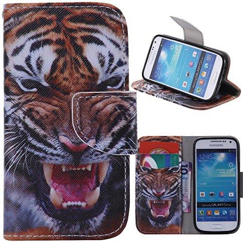 アイビー Samsung Galaxy サムスン ギャラクシー S4 Mini(i9190) SIV Mini 対応ケース 「タイガー」 PUレザーケース 手帳型ケース IDカード/クレジットカード入れ ナイフ型磁気フリップ閉鎖 スタンド機能付 横開き 卓上対応 防塵 保護 Samsung Galaxy サムスン ギャラクシー S4 Mini(i9190) SIV Mini 用
