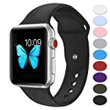 Misker Sport Band Compatible with Apple Watch 42mm 38mm, Soft Silicone Strap Replacement Wristbands Compatible with iwatch Sport Series 3/2/1 Sports and Edition (Color: Black, Tamaño: 38MM/40MM M/L)